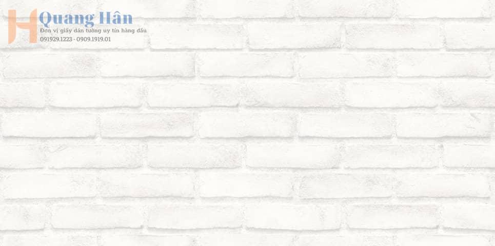 Giấy dán tường giả gạch màu trắng