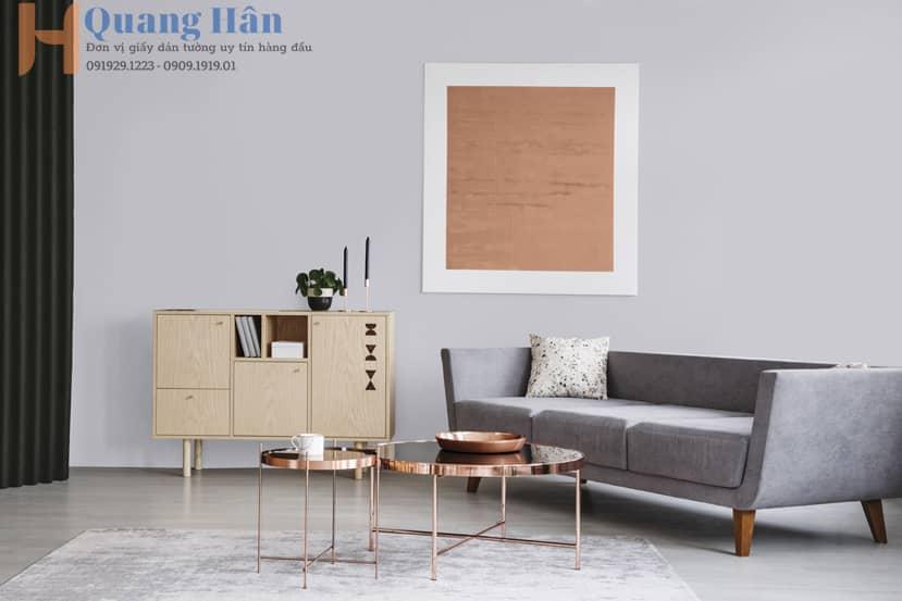 Giấy dán tường phòng khách thiết kế hiện đại
